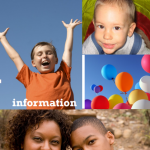 Images from Compass leaflet of young children and balloons