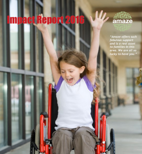 "Photo of a girl in a wheelchair with her arms in the air, and the words ""Impact Report 2016"""
