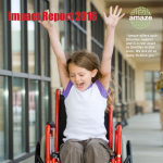 """Photo of a girl in a wheelchair with her arms in the air, and the words """"Impact Report 2016"""""""