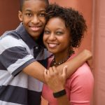 black mum and teenage son