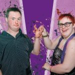 Two young people in front of a purple background