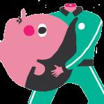 cartoon headless man holding an oversized head