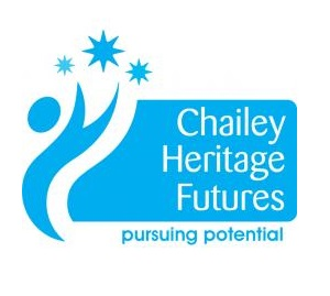 Logo with blue stylised person reaching for stars and text saying Chailey Heritage Futures - pursuing potential