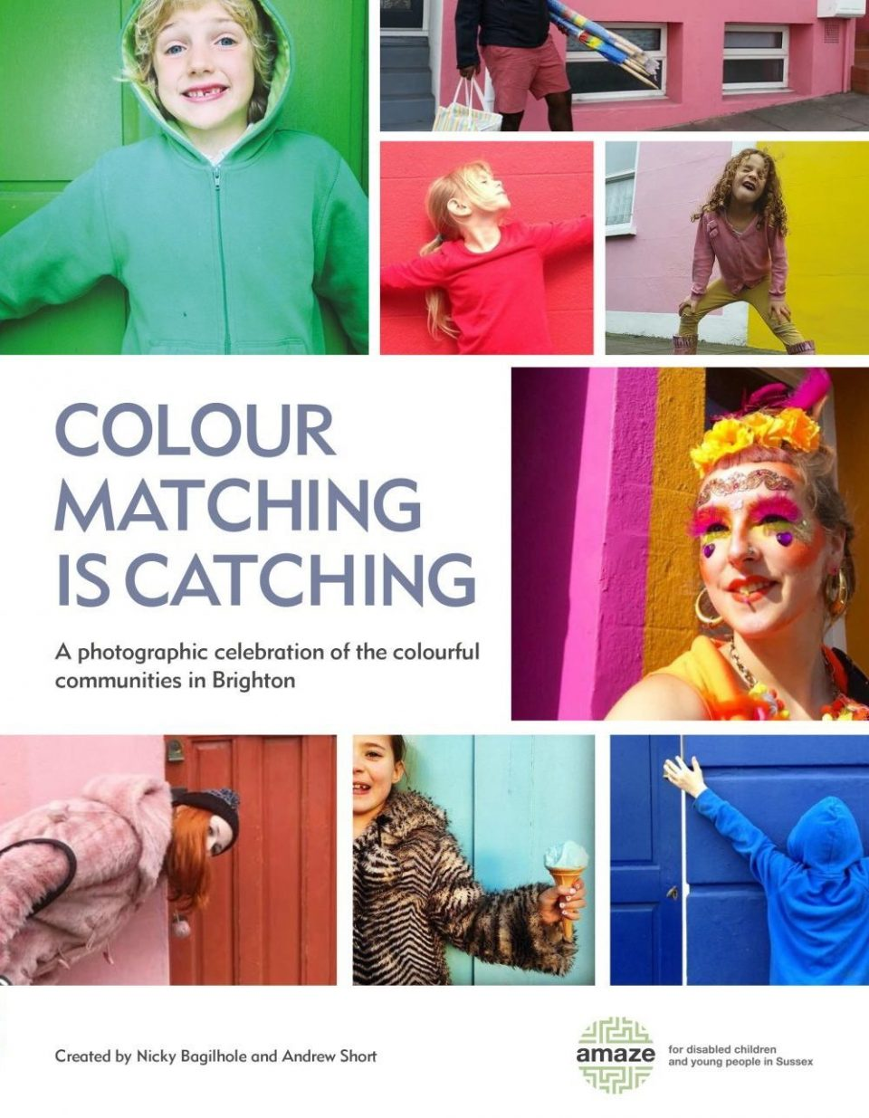 images of people wearing clothes or make up matching the colours of their surroundings, and the words colour matching is catching