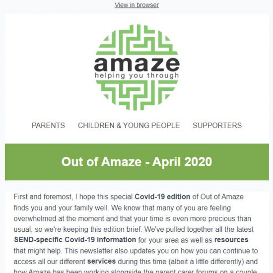 Amaze newsletter april 2020