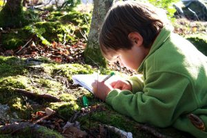 boy in green coat drawing out in nature with sun out
