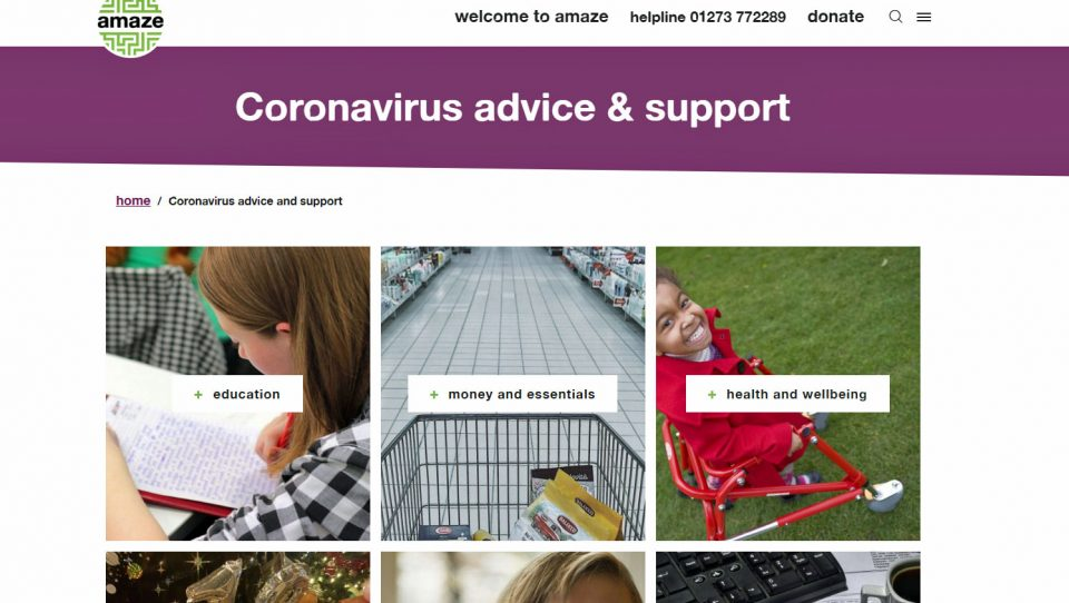 amaze's new coronavirus website section