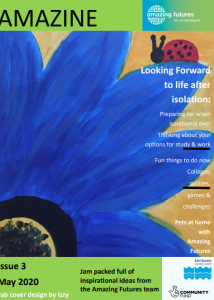 Amazine front cover, featuring painting of a blue flower with a ladybird
