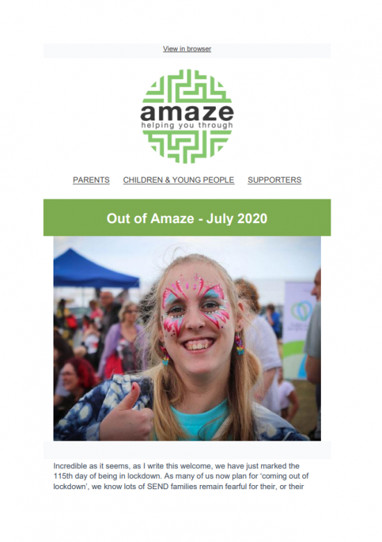 Front cover of Amaze newsletter, featuring photo of smiling young woman with a butterfly painted on her face, giving a thumbs up