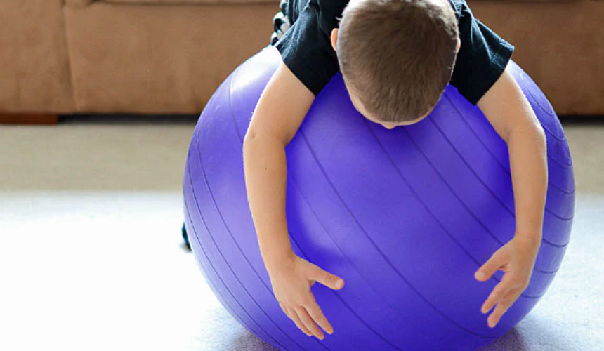 using exercise ball in physio at home