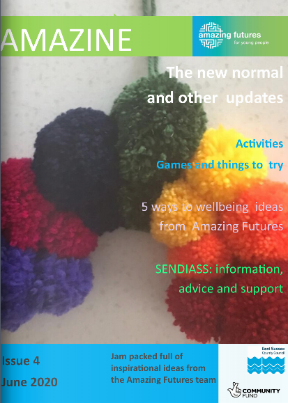 Amazine front cover with image of brightly coloured yarn pompoms