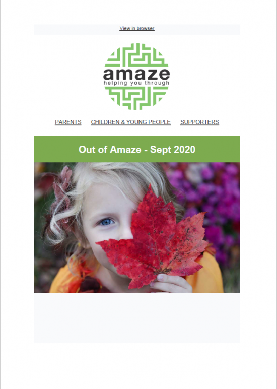 newsletter front cover, featuring small blonde child holding a large red leaf up over half their face