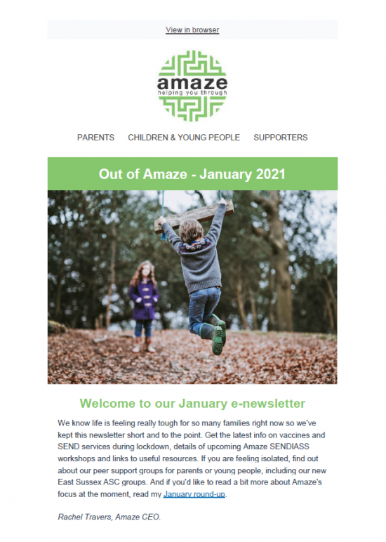 Newsletter front cover, featuring photo of children playing outside in warm clothing