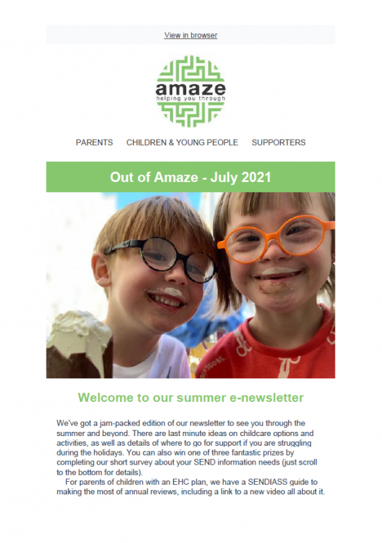 newsletter front cover with photo of smiling messy children wearing strong prescription glasses