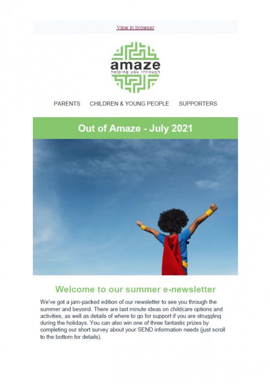 newsletter front cover with photo of Black child dressed as a superhero with arms outstretched, against a sunny blue sky