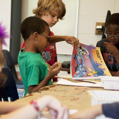 kids in primary school classroom